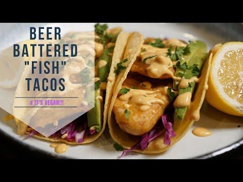 Beer Battered Vegan Fish Tacos W/ Garlic Sriracha Sauce 😍😍 Beer Battered Fish Tacos