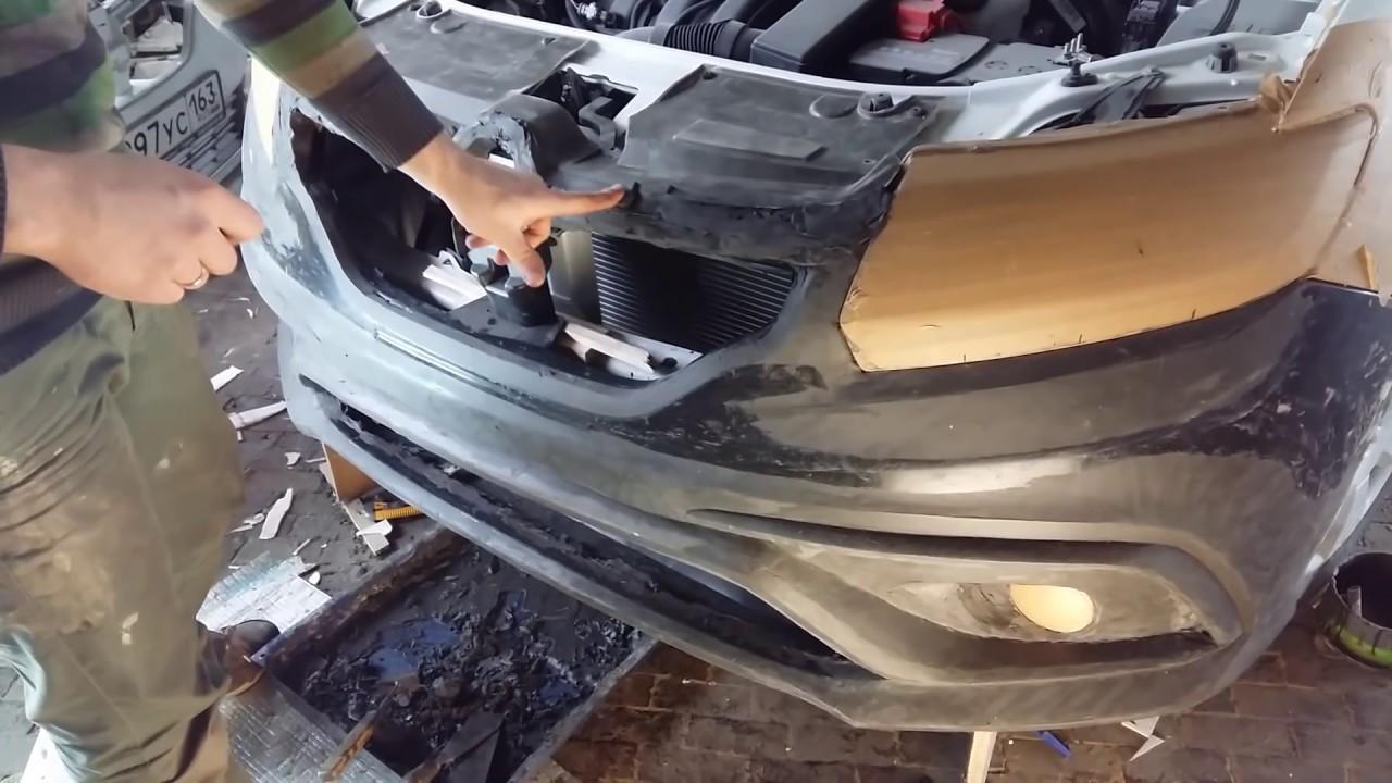 Рено логан 2 лепим бампер RS - YouTube