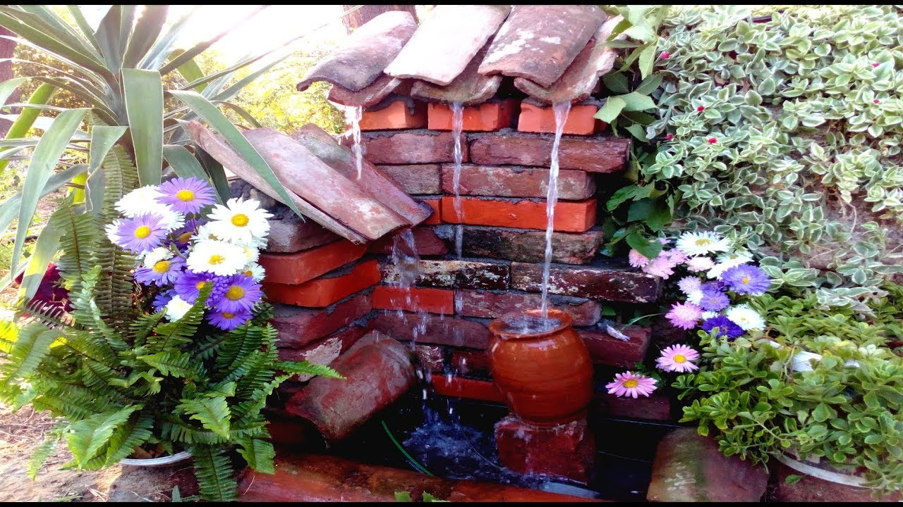 How To Make An Outdoor Fountain.How To Make Outdoor Fountain With Old Bricks Diy