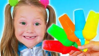 Eva and Vova pretend play cooking fruit ice cream Story by Eva Surprise