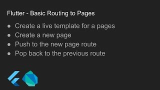 Flutter - Basic Routing to Pages