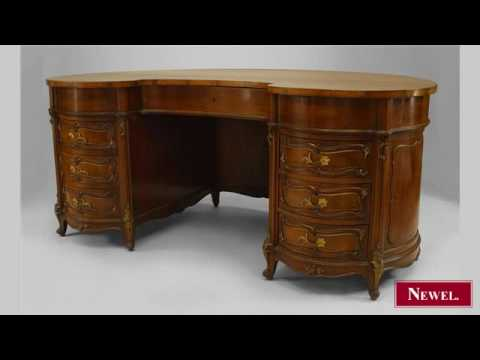 Antique French Louis XV style (19th Cent) walnut kidney