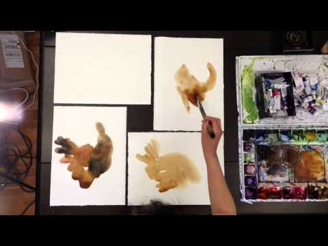 "How to paint ""chickens"" with sumi ink and watercolor"