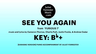 "SEE YOU AGAIN (karaoke version) from ""Furious 7"" by Thomaz, Puth, Franks, & Cedar"