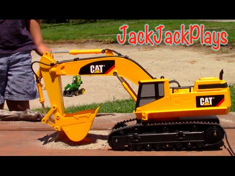Construction Trucks for Kids - RC Excavator Toy UNBOXING - Playing Action JackJackPlays