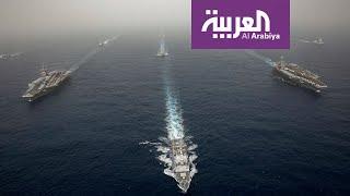 بالفيديو.. قطع البحرية الأميركية تجري مناورات في بحر العرب