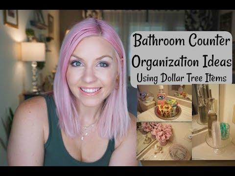 Dollar Tree Bathroom Counter Organization Ideas| How I Organize My Bathroom Counters| Megan Navarro