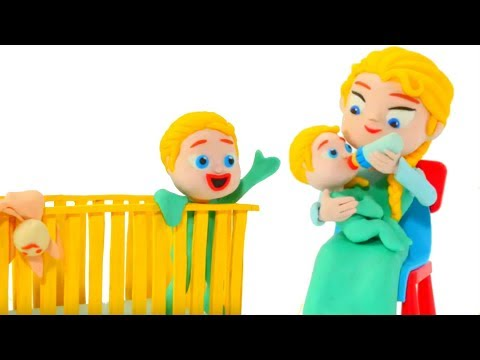 FROZEN ELSA BABY SITTER ❤ Spiderman, Hulk & Frozen Play Doh Cartoons For Kids