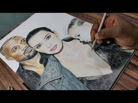 Drawing Kanye West, Kim Kardashian and North West  – hyperrealistic art