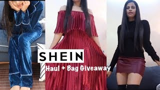 SHEIN HAUL | JACKETS, SWEATERS, DRESSES, BOOTS,BAGS + GIVEAWAY | Sana K