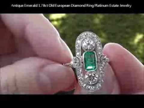 Antique Emerald 1.78ct Old European Diamond Ring Platinum Estate Jewelry