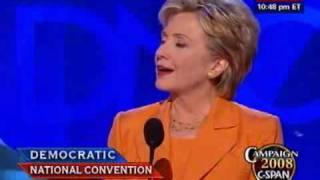 Sen. Hillary Clinton (D-NY) addresses the DNC