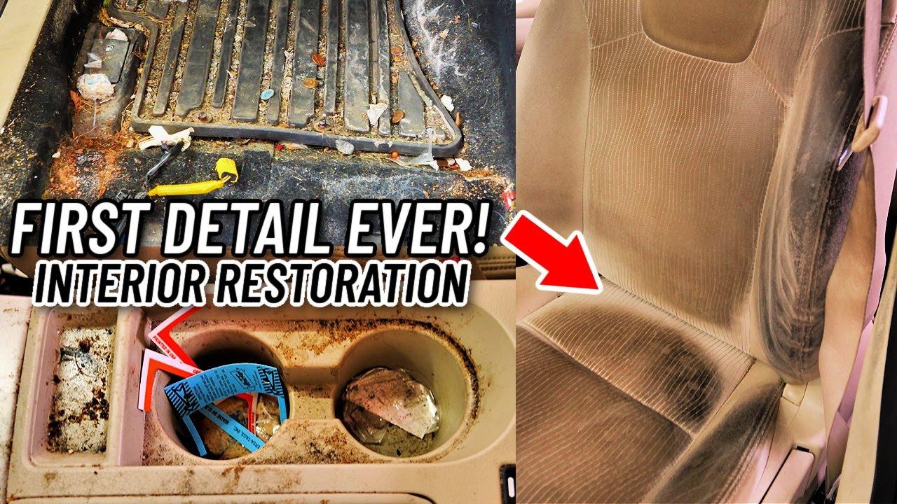 Full Interior Car Detailing Transformation of A Smoker's Nasty Car! Interior Restoration How To