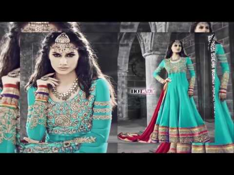 Designer Heavy Work Chanderi Anarkali Gown Salwar Suits max fashion latest collection