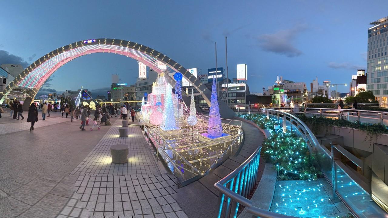 360° VR 動画 豊橋駅 夜景 イルミネーション