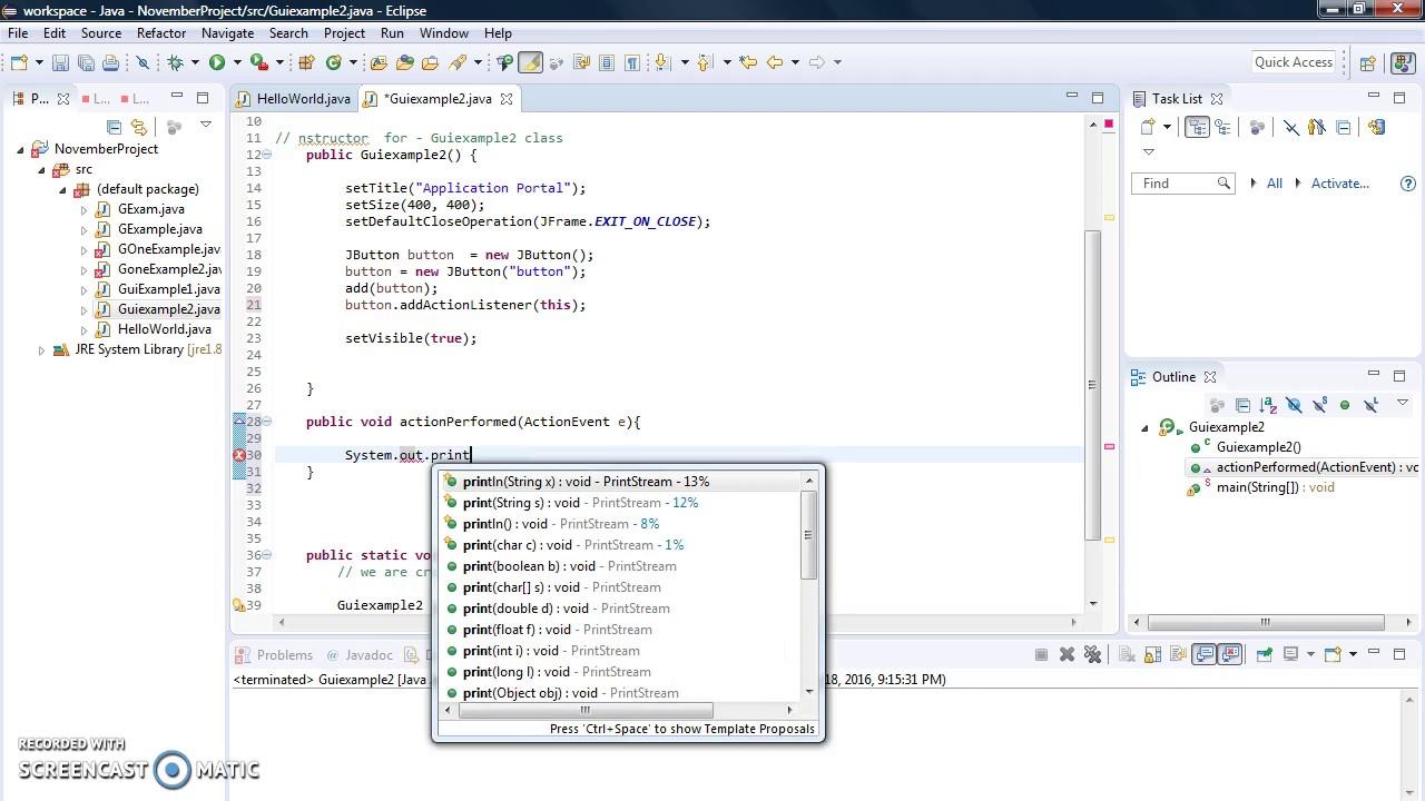 how to create gui using java