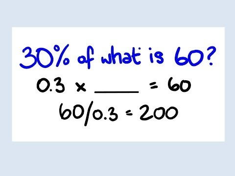 Percent of a unknown number - percentage math lesson