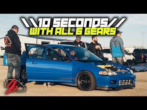 500HP Stock K20 Turbo Runs 10s Shifting ALL 6 Gears!