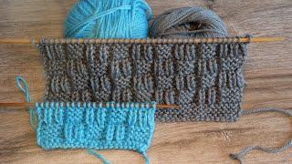 Рельефный узор спицами «Квадраты» 🆓 «Squares» knitting pattern