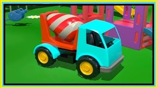 Kid's 3d Construction 5: Build A Cement Mixer Demo Learn To Count [건설, 자동차, 트랙터, 시멘트 트럭/xe Tải Lớn