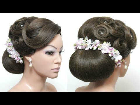 Bridal Low Bun Hairstyle For Long Hair Tutorial