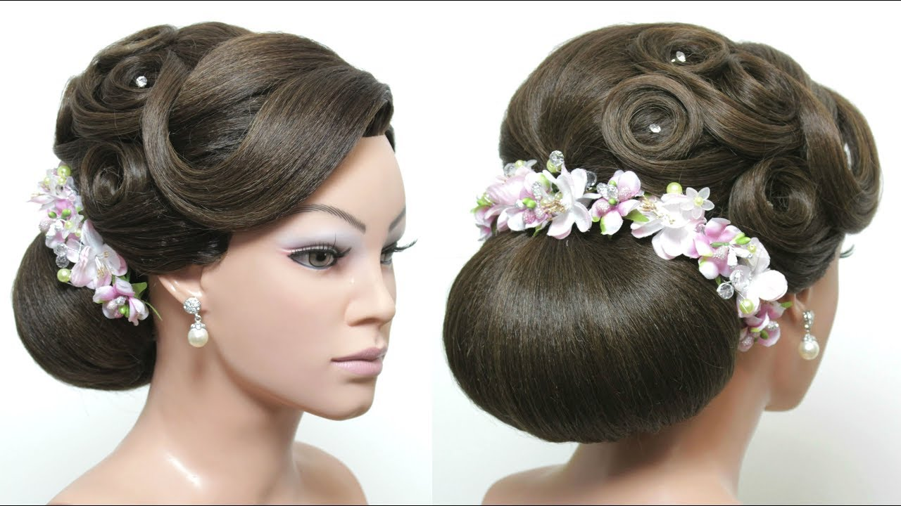 Beautiful Bridal Hairstyle For Long Hair: Beautiful Wedding Low Bun Hairstyle For Long Hair
