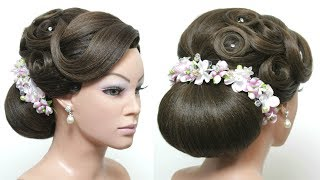 Beautiful Hairstyles with Puff for Wedding or Function. Bridal Bun Updo