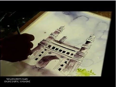 Water colour painting | Time lapse | indian heritage building