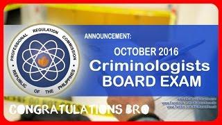 CRIMINOLOGY BOARD EXAM RESULT OCTOBER 2016 - | Helmz Jordan