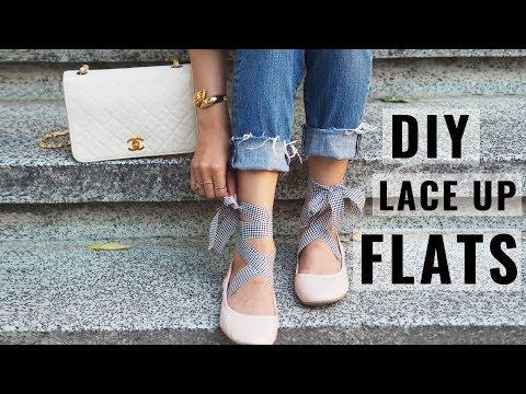 DIY Gingham Lace Up Flats | Karen Or