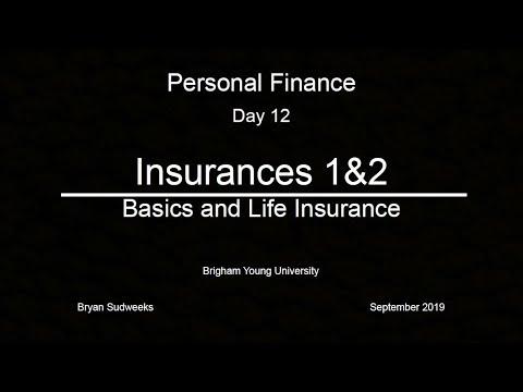 Day 12: Insurance 1: Basics and Insurance 2: Life Insurance