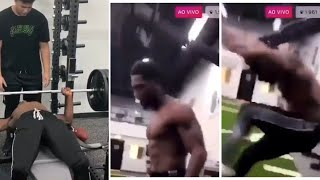 Antonio Brown Almost Gets Head Taken Off After 315 Bench Press Reps