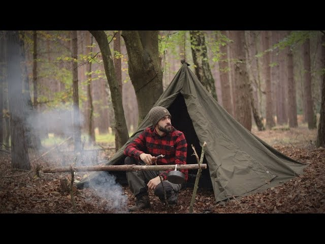 Solo Bushcraft Overnight - Swedish Axe, Canvas Lavvu, Wool Blanket