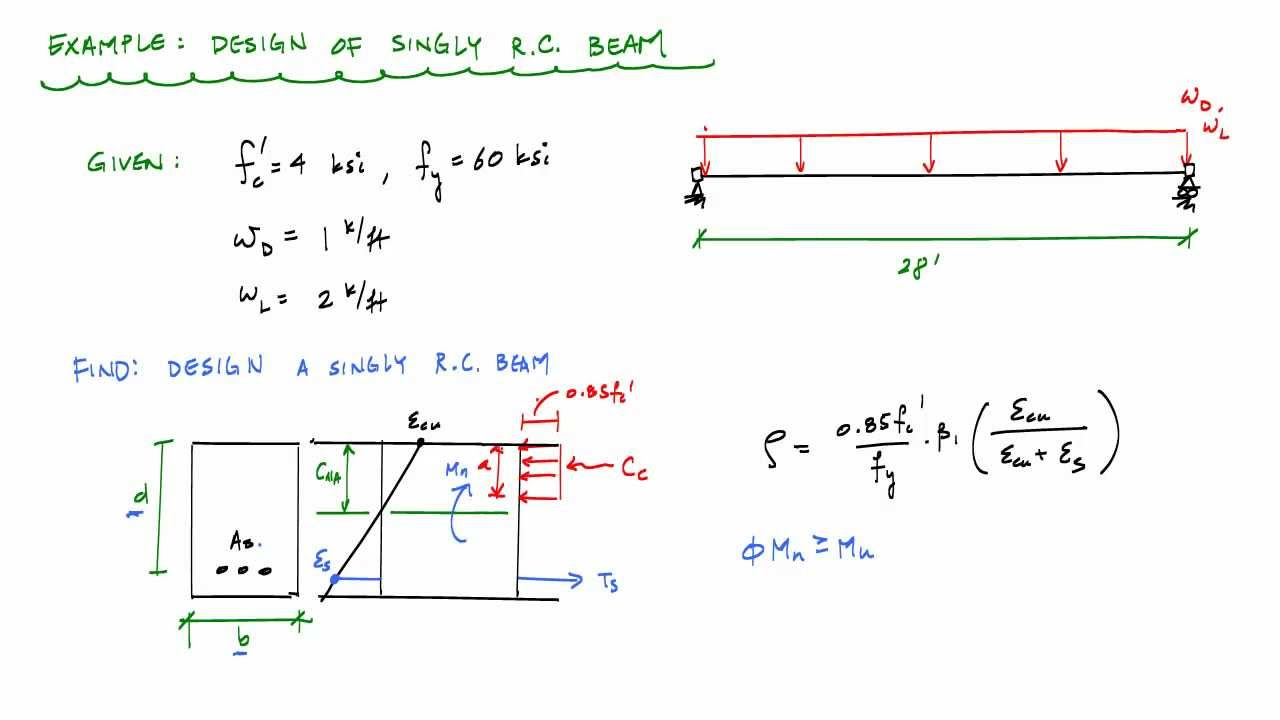 Design Of A Singly RC Beam Section Example 1   Reinforced Concrete Design    YouTube