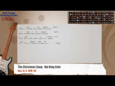 The Christmas Song - Nat King Cole Guitar Backing Track with chords and lyrics
