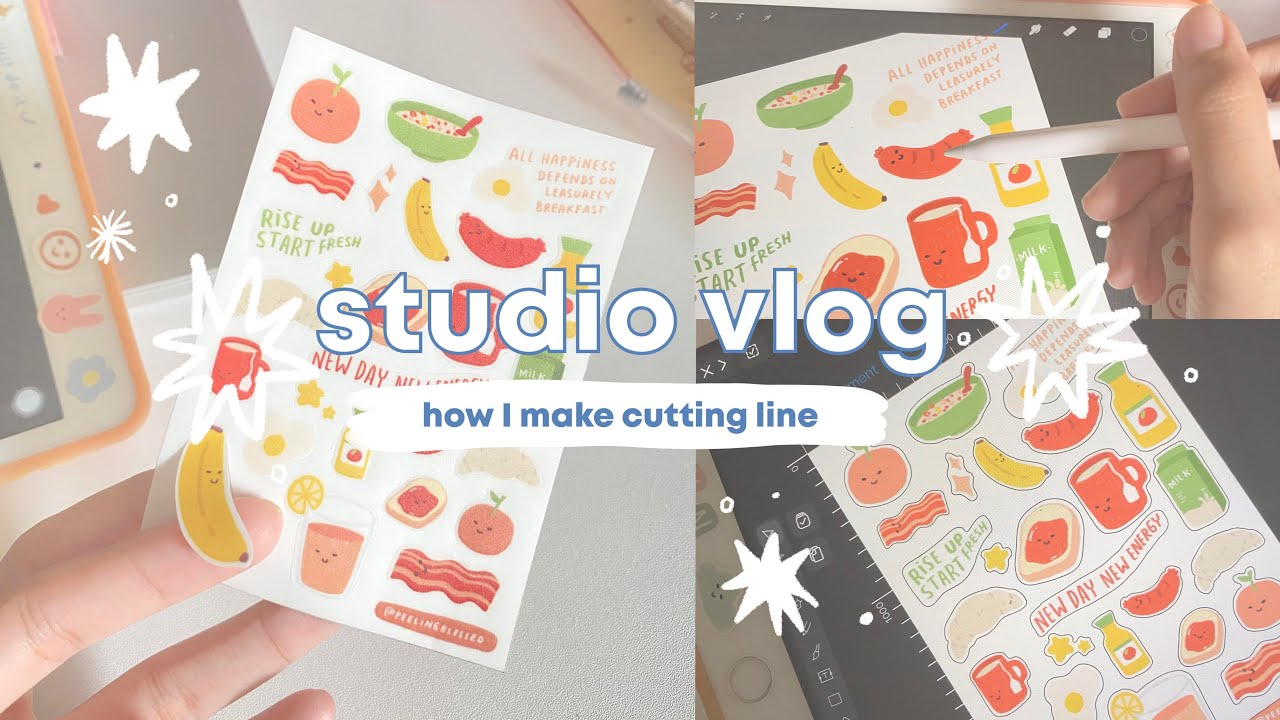 Studio Vlog #6   How I make CUTTING LINE for my stickers   Indonesia