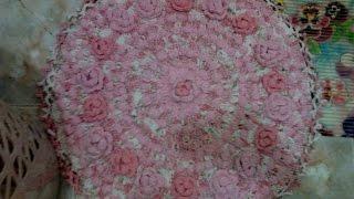 Вязание крючком. Вяжем коврик из полосок ткани.