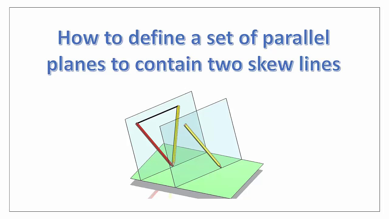 parallel planes. skew lines:-how to locate a set of parallel planes contain two lines