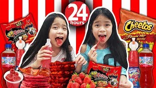 We Only Ate RED FOOD For 24 HOURS Challenge!