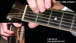 TEN LITTLE INDIANS: Easy Guitar Lesson + TAB by GuitarNick