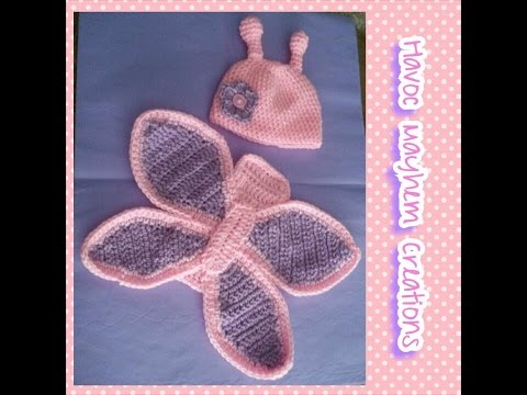 Tutorial How to Crochet a Newborn Baby Butterfly Photo Props.