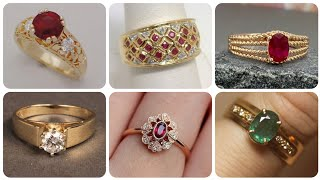 Outstanding And Most Demanding Gold Rings Designs With Diamond Ruby And Emerald - Couple Bands