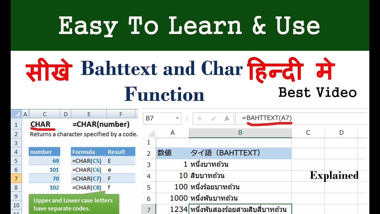 bahttext function and char function in excel in hindi
