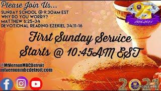 "MtVernonMBCDetroit - Sunday School - ""Why Do You Worry?""  - 6/6/2021"