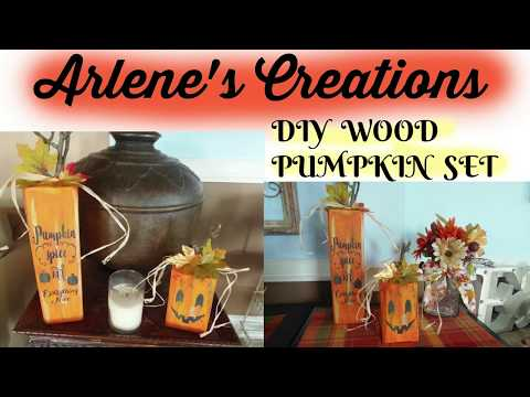 DIY WOOD STUMP PUMPKINS WITH STENCILS