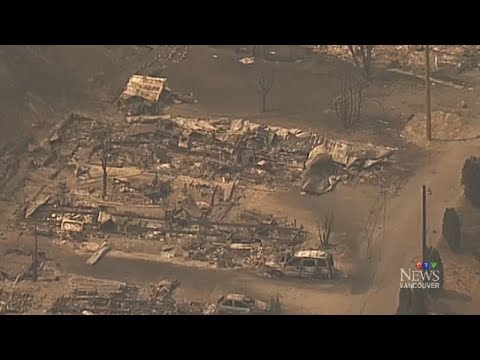 Extended: Aerial view over wildfire damage in British Columbia