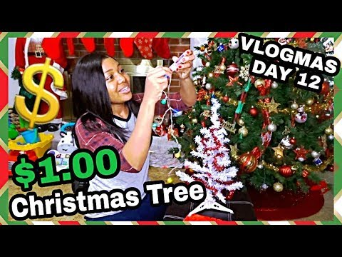 HOW I DECORATED MY $1.00 CHRISTMAS TREES! VLOGMAS DAY 12