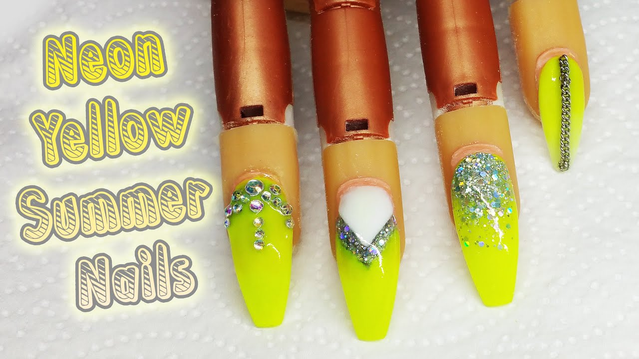 Neon yellow summer nail design glitter nail art youtube prinsesfo Images