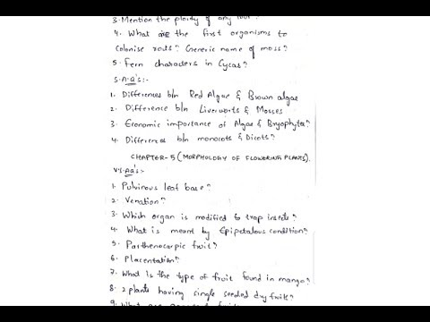 Inter 1st year botany important questions and previous question papers ||  By Phanindra guptha