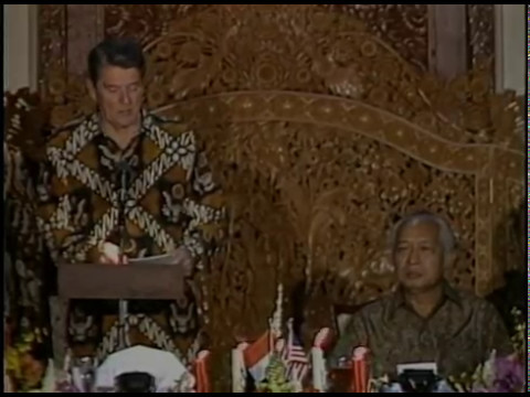 President Reagan and President Soeharto's of Indonesia Toasts at an  Dinner on May 1, 1986